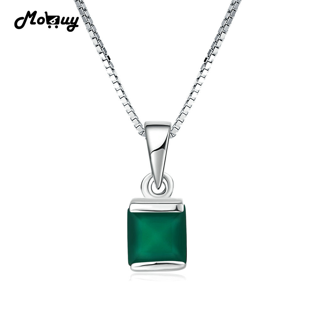 MoBuy MBNI038 Natural Gemstone Square Green Chalcedony Necklaces &