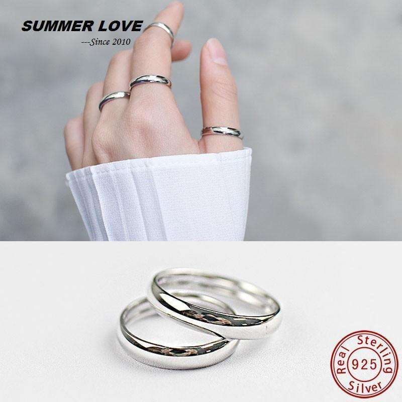 1 Piece 925 Sterling Silver Rings For Women Or Mens Rings Simple