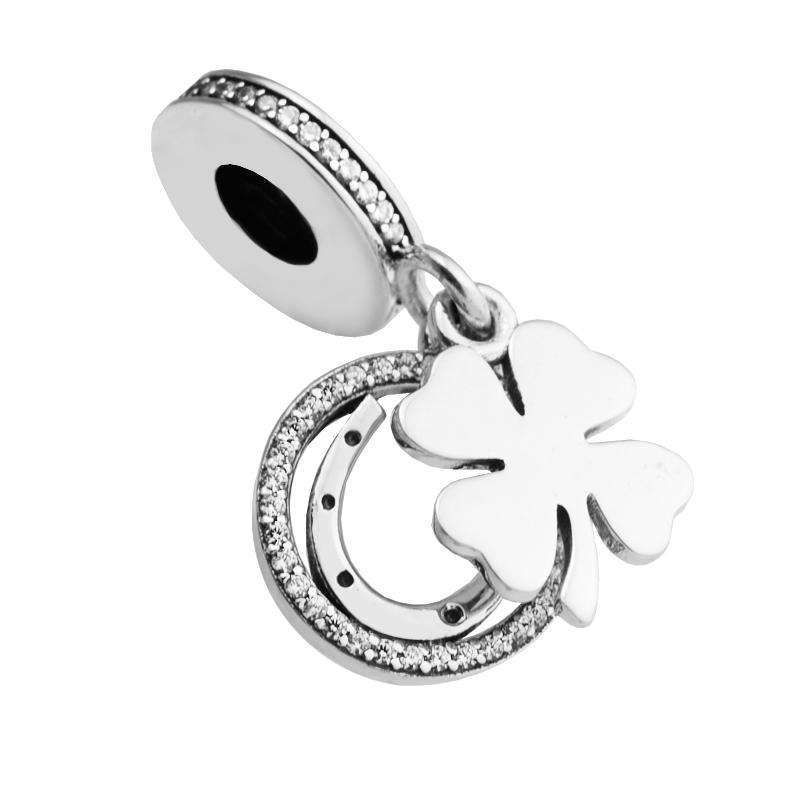 100% 925 Sterling-Silver-Jewelry Lucky Day Silver Dangle Charm DIY