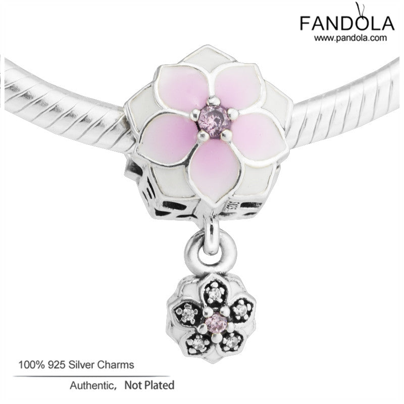 Magnolia Bloom Beads 925 Sterling-Silver-Jewelry Pale Cerise Enamel
