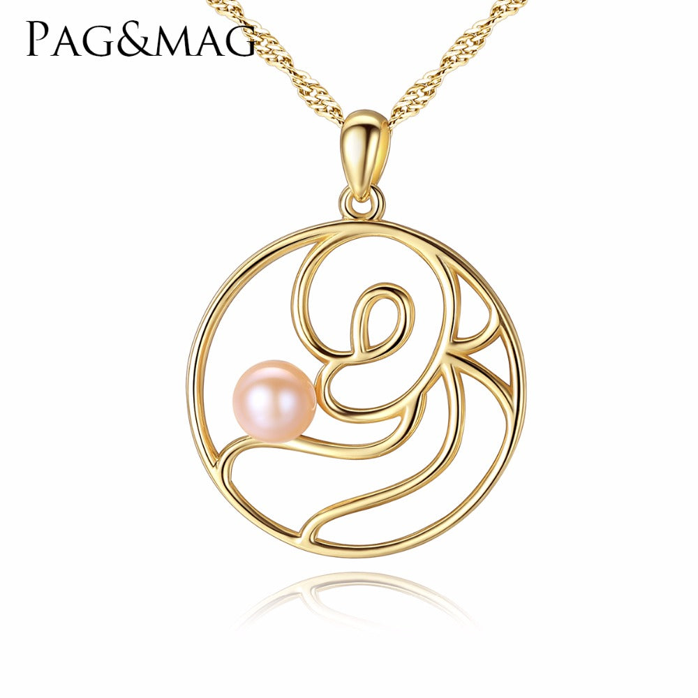 PAG&MAG Brand 2017 Freshwater White Pink Pearl Necklace Pendant  925