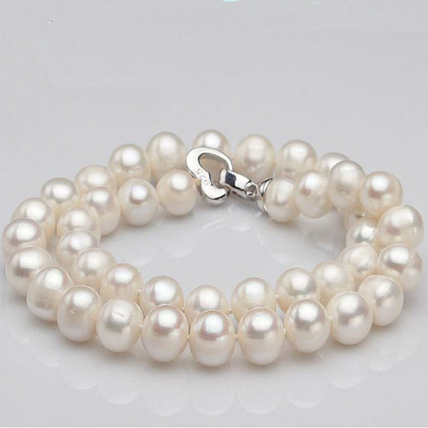 2017 Chains Necklaces Promotion Colares S925 Sterling Button Freshwater Pearl Necklace8-9mm For Women's Prom /party Jewelry 8642822-white-8-9mm-45cm for $40.99 USD  10-100, 10-50, earings, Jordan's Jewlery, necklaces-and-pendants, new-arrivals, over-10