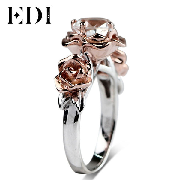 EDI Natural Topaz Rose Flower Crystal Engagement Ring Beauty And The Beast Gemstone 925 Sterling Silver Gold Plated Fine Jewelry