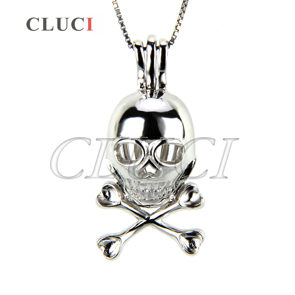 CLUCI Skull Charm Necklace 925 Sterling Silver Pendant Women