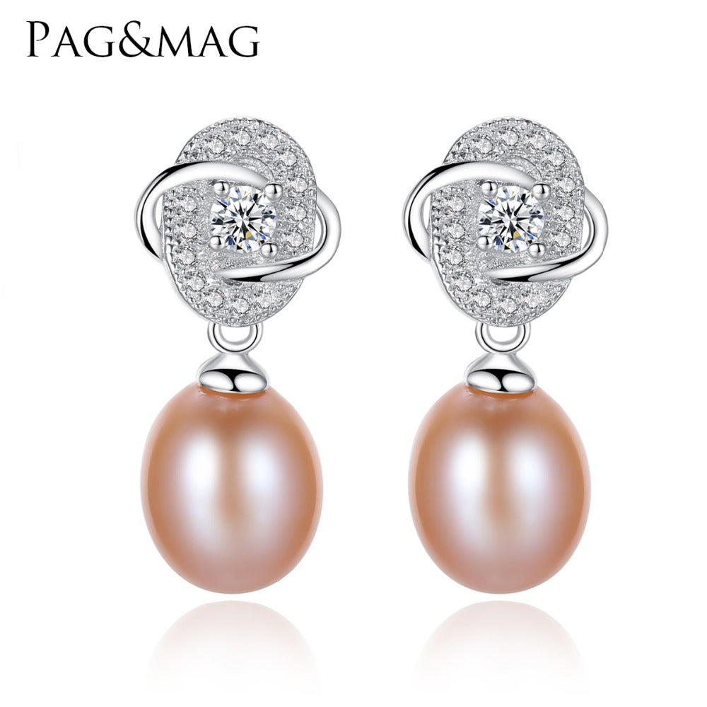 PAG&MAG Vintage Flower Stud Earrings 925 Silver Tiny Cute White Pink