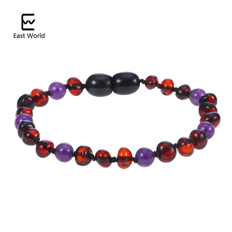 EAST WORLD Amber Bracelets with AAA Amethyst Original Natural Stones