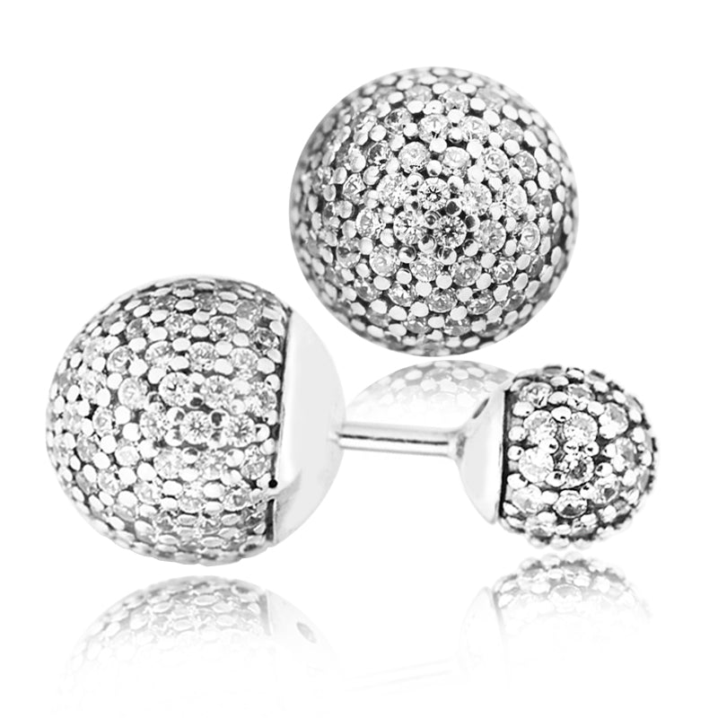 Pave Drops Earring With Clear CZ 100% Sterling Silver Jewelry Free