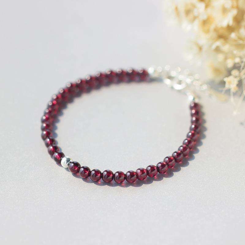 100% Real. 925 Sterling Silver Jewelry Round 5MM Natural Red Garnet