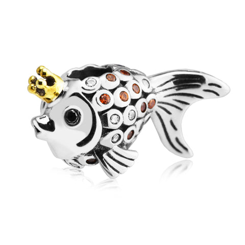 Fits for Pandora Bracelets Gold Fish Silver Beads 100% 925 Sterling