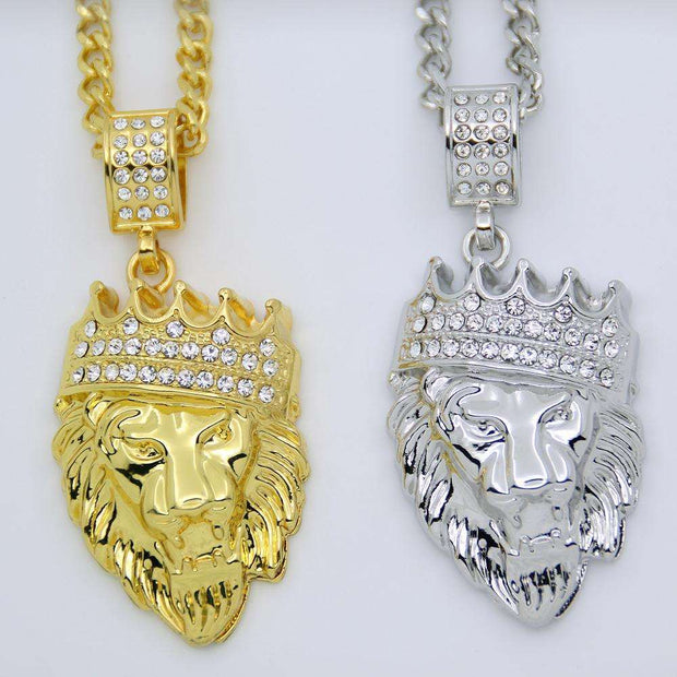 2 Colors Hip Hop Bling Iced Out Jewelry Crown Lion Head Pendant