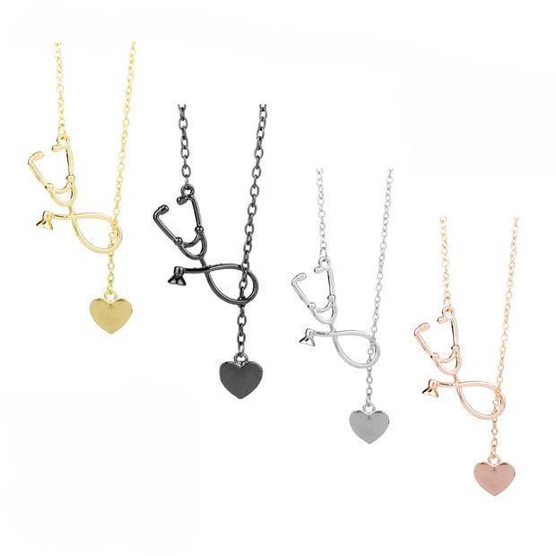dongsheng Stethoscope Necklace Heart and Stethoscope Pendant for