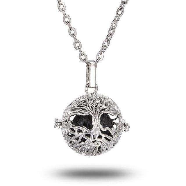 1Pc Antique Silver 16mm Lava Stone Diffuse Locket Necklace For Gift