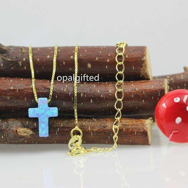 1pc New Arrival Elegante Opal Necklace OP06 Baby Blue Cross Design