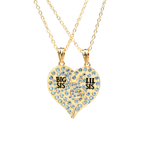 2 Pcs/Set Big Sis Lil Sis Big Sister Little Sister Best Friends Forever  Broken Heart Pendant Necklace Rhinestone Gift
