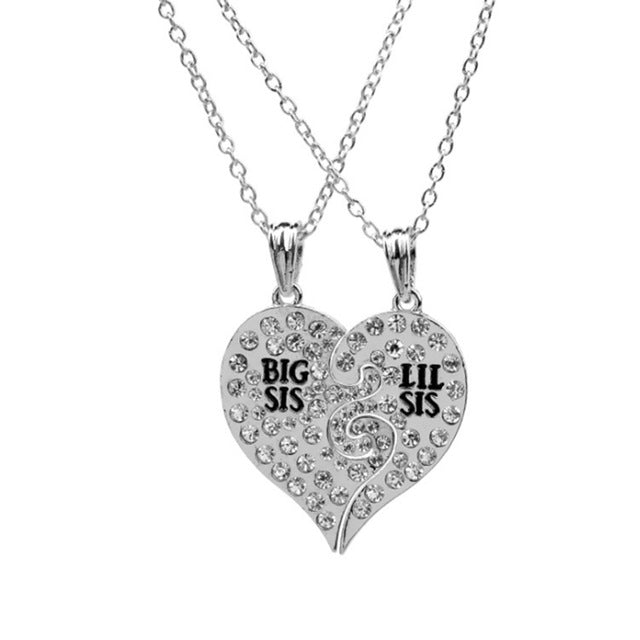 Big Sister Sis Lil Sis Necklace 2 piece Crystal Heart Friends Forever Necklaces