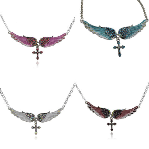 Charm Angel Wing Cross Necklace Women Biker Jewelry Gifts  Crystal Adjustable Antique Silver Color Festival Presents