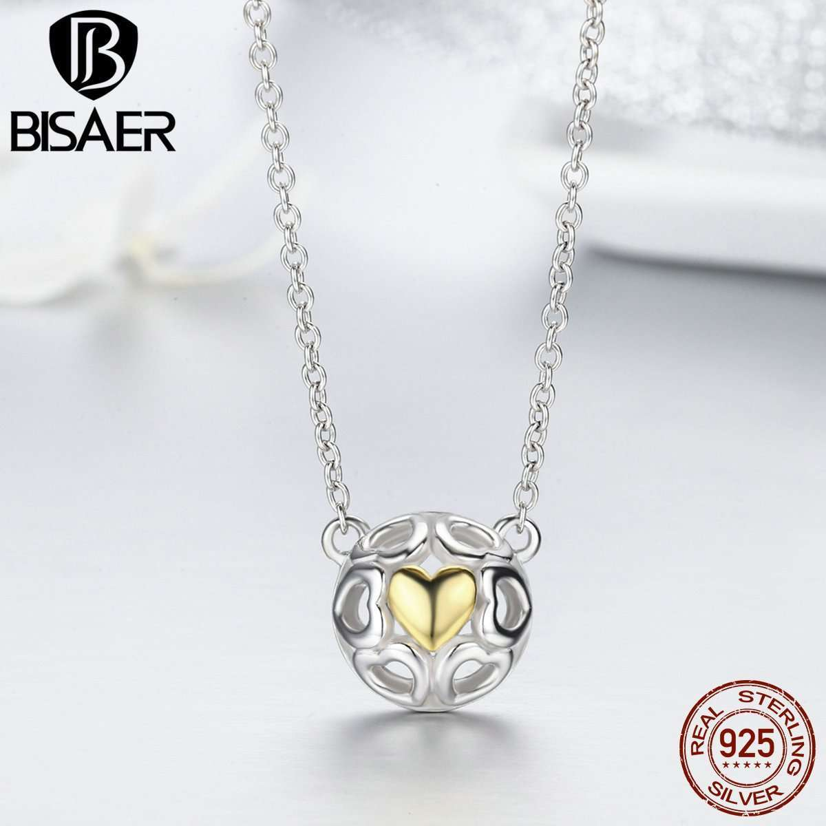 100% Real 925 Sterling Silver Love Openwork Heart Pendant Necklaces