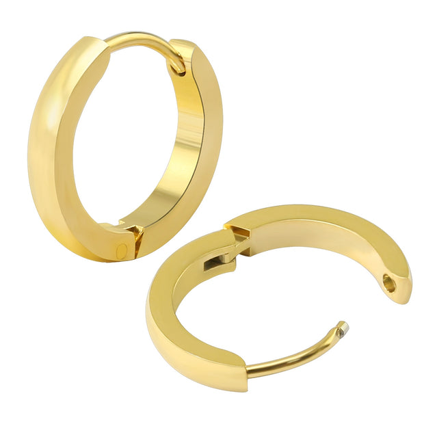 ZS Small Hoop Earrings Gold Color Stainless Steel Hoop Earrings For