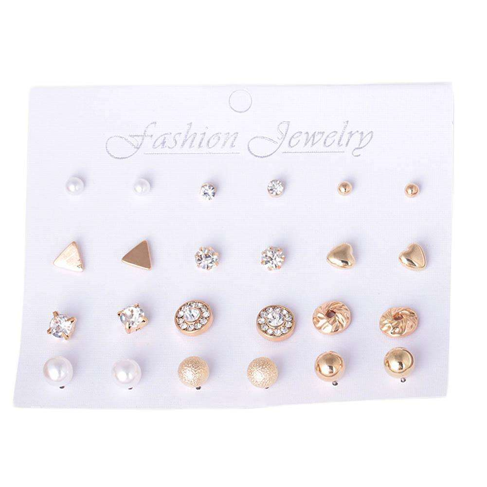12Pairs/set Fashion Pearl Stud   For Women Hot Selling