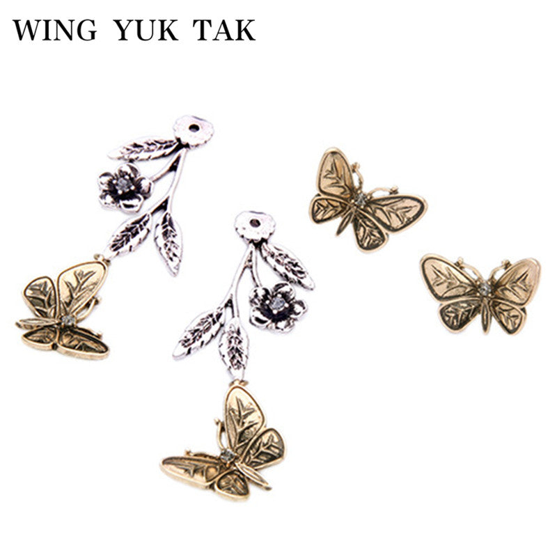 WingYukTak New Fashion Vintage Gold Color 3D Butterfly Metal Flower