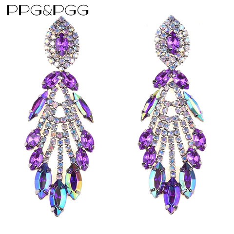 PPG&PGG Bohemian  Luxury Crystal Chain Earrings Statement Jewelry