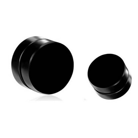 Shellhard Black Magnet Circle Round Stud Earring Stainless Steel