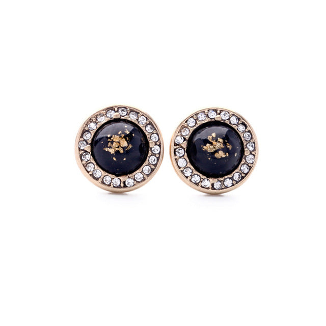 2017 1 Pair 3 Colors Round Rock Crystal Design Stud Earring Mix