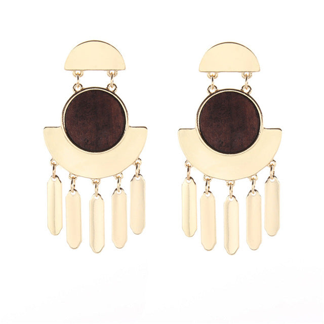 2017 Gold Color Brown Vintage Wood Boucle D'oreille Femme Earring