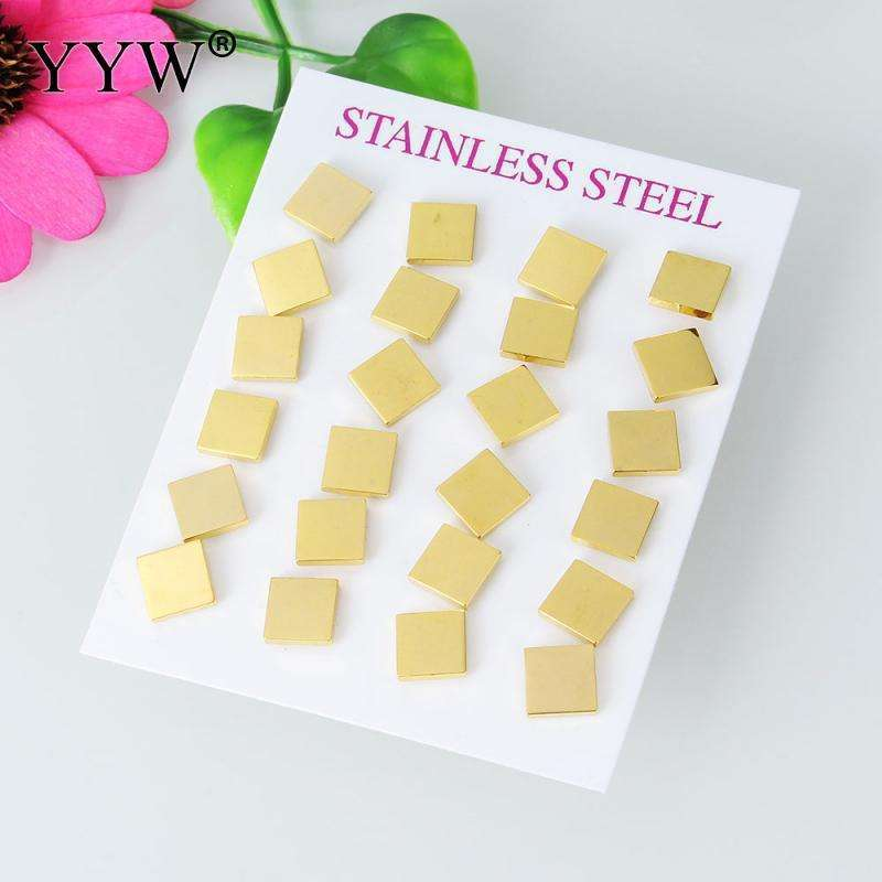 12 Pairs earring for women stainless steel stud earrings Square gold