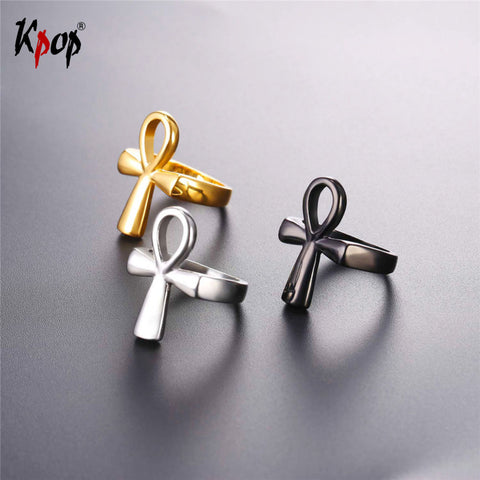 Kpop Ankh Egyptian Cross Key of the Nile Rings For Men/Women Wholesale Stainless Steel Gold/Black Color 2017 Jewelry Ring R2591