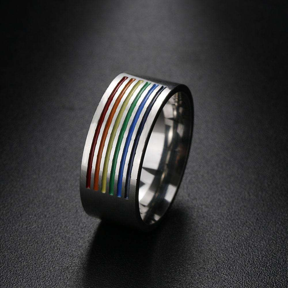 1Pcs NEW Rainbow Ring Lesbian Gay Pride Ring Stainless Steel Women Men