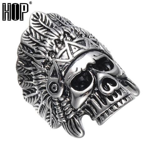HIP Punk Biker Gold Color Titanium Stainless Steel Skeleton Dainty Indian Chief Skull Ring For Men Cool Jewelry
