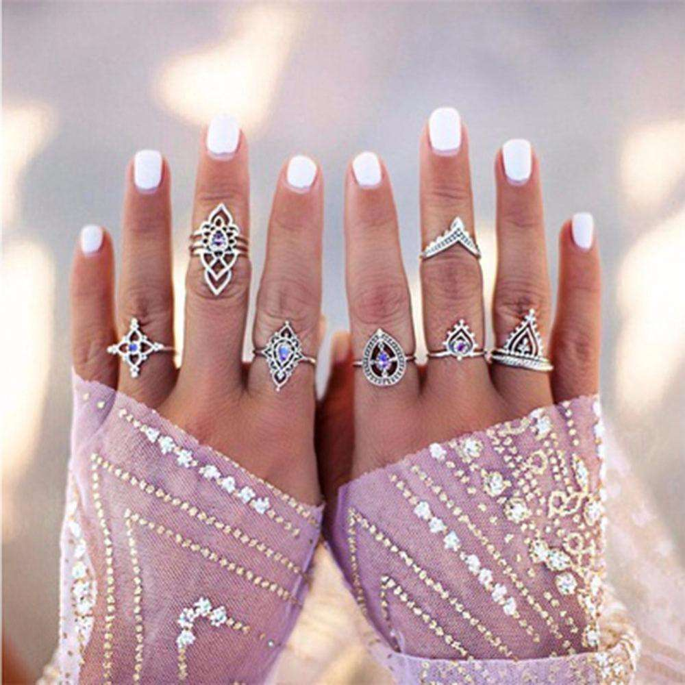 10Pcs/set Fashion Vintage Silver Gold Hollow out Knuckle Nail Midi