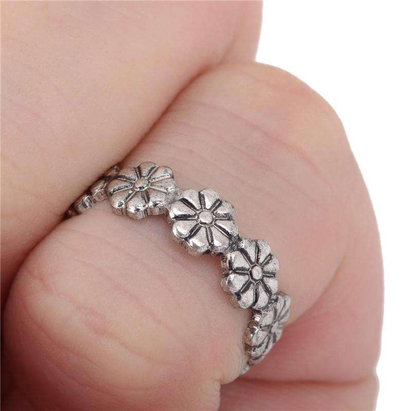 10pcs Vintage Carved Flower Adjustable Opening Finger Ring Women Girls