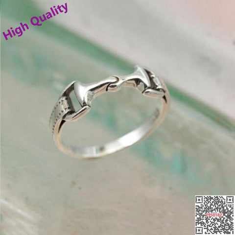2017 real 925 Sterling Silver women men horse bit snaffle bit ring new