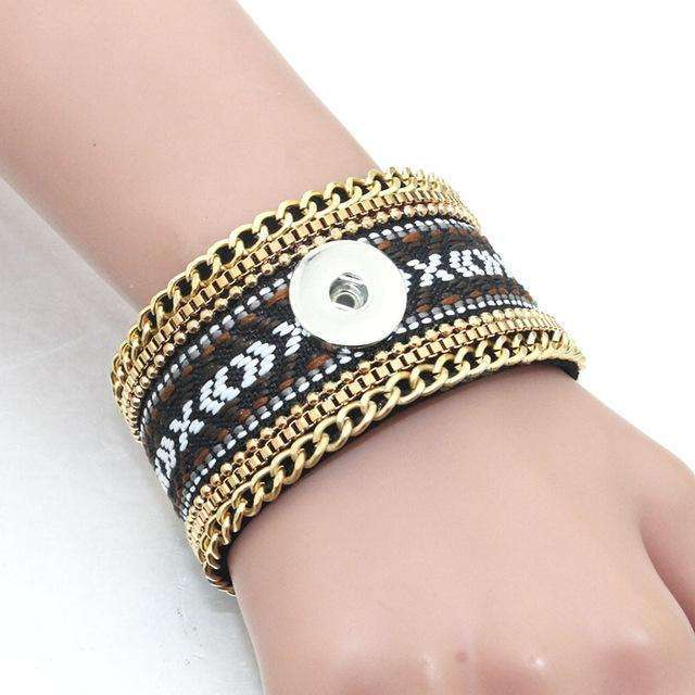 2 PCS/Lot 20.5CM Magnet buckle Snap Bracelet Leather Bracelet Fit 18mm