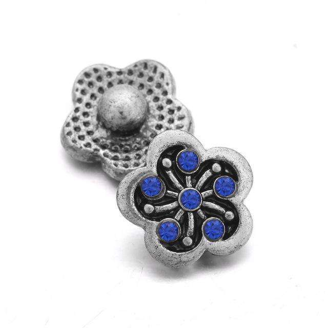 10pcs/lot Snap Jewelry 12MM Snap Buttons Metal Flower Rhinestone
