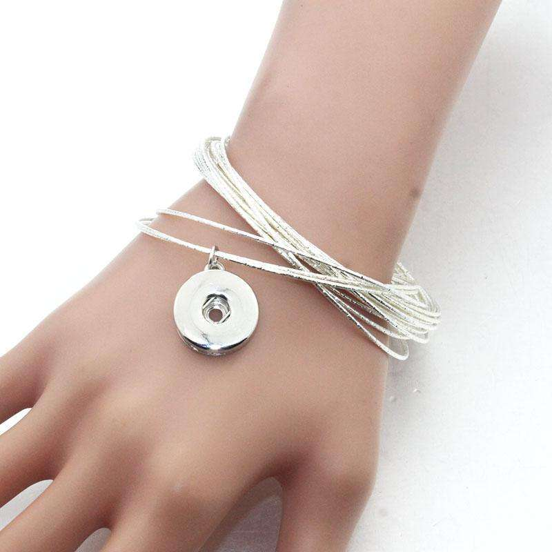 18MM Snap Button Women Metal Bangle Elasticity Bracelet Retro Silver