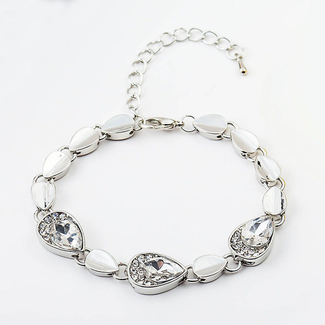 2017 Fashion 12 Colors Women'S Charm Bracelets Silver Plated Heart