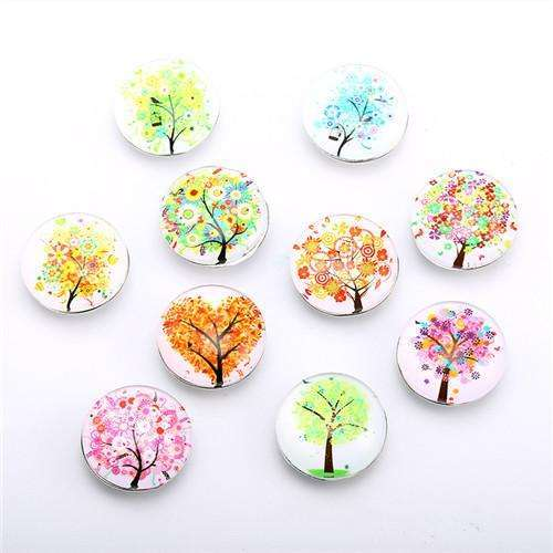 10pcs/lot Tree Pattern Beauty Glass Snap Buttons fit 18mm/20mm DIY