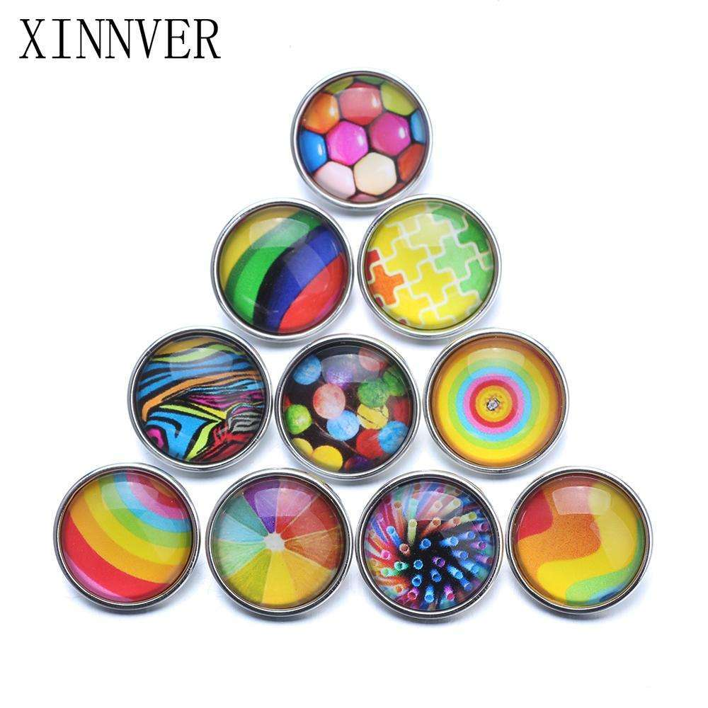 10pcs Mixed 18mm Glass Snap Buttons Jewelrys Colorful Series Glass