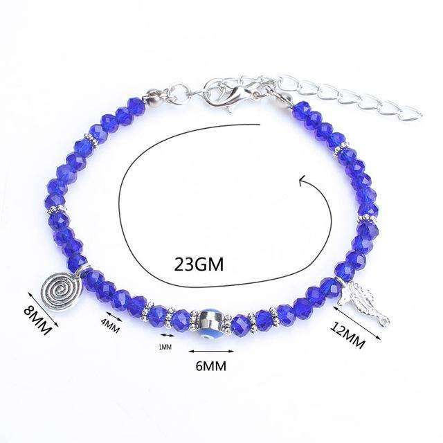 1pc 4mm spacer beads bracelet evil eye beads tassel adjustable Lobster