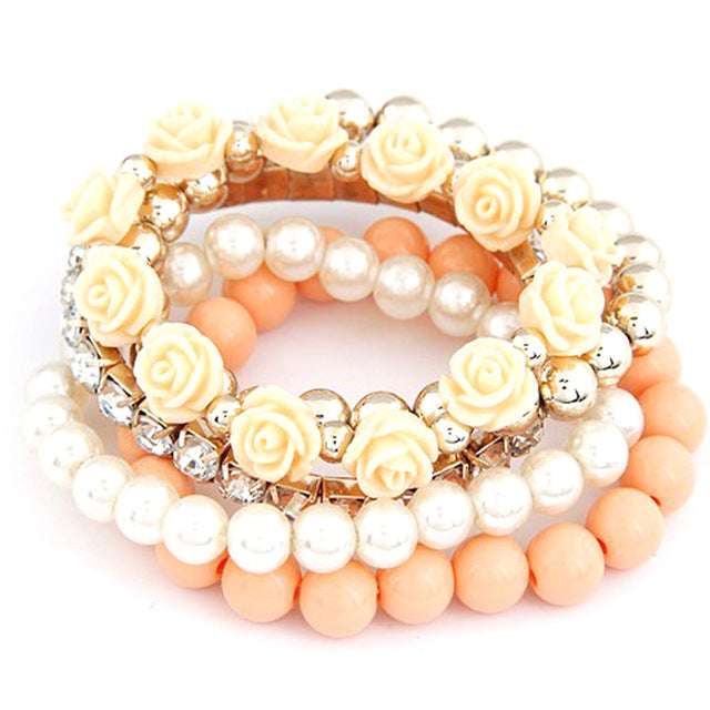 2017 Fashion Candy Color imitation pearl Rose Flower Multilayer