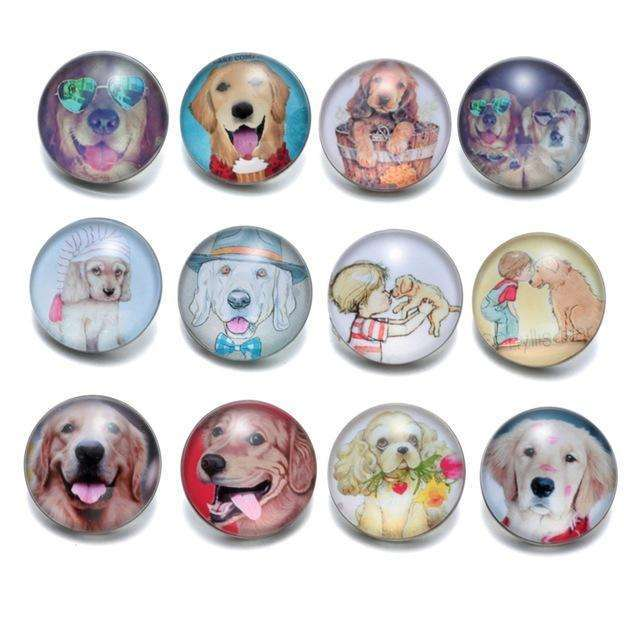 12pcs/lot Multi Theme I Love Dog Pattern 18mm Snap Button Jewelry