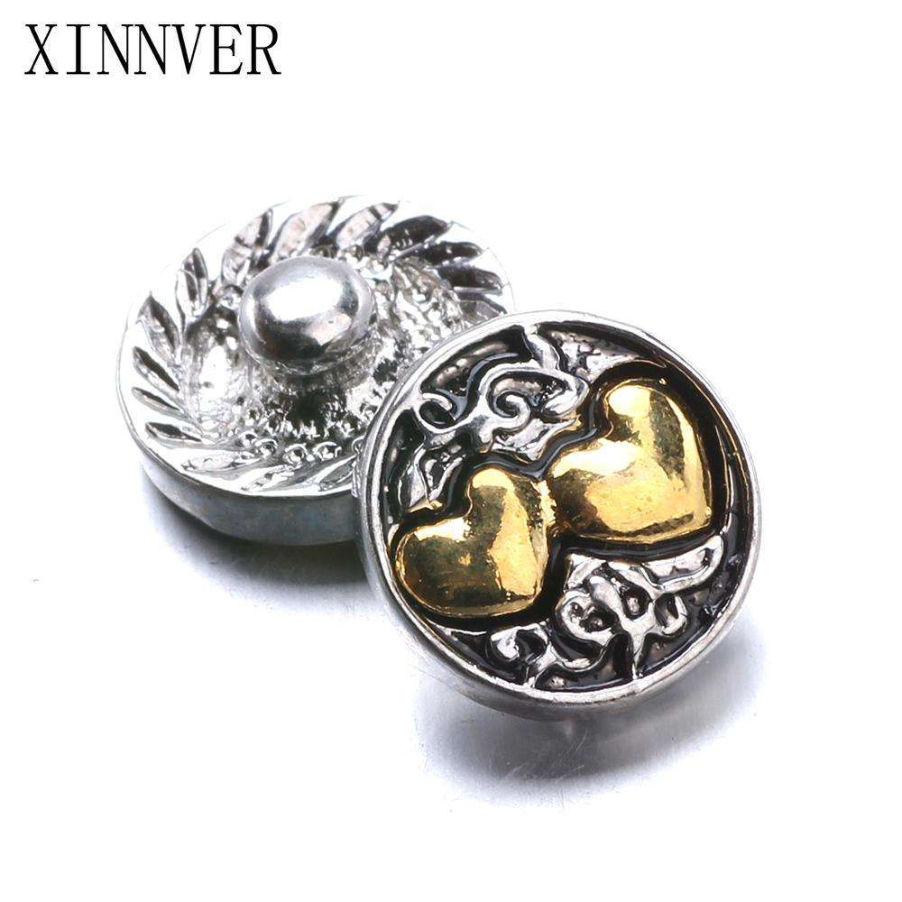 10pcs/lot Xinnver Snap Jewelry Heart Metal 12MM Snap Buttons Fit DIY