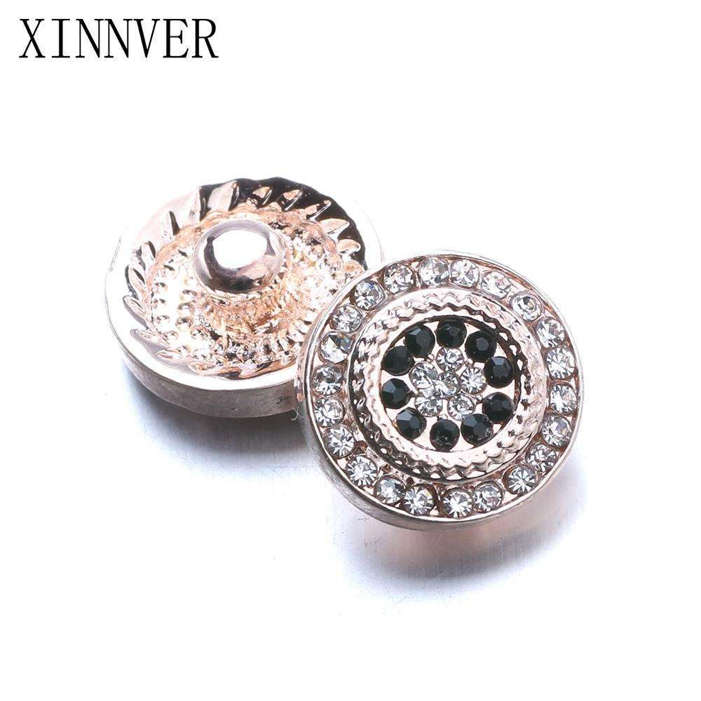 10pcs/lot Xinnver Snap Jewelry Crystal Rose Gold Flower Metal 12MM