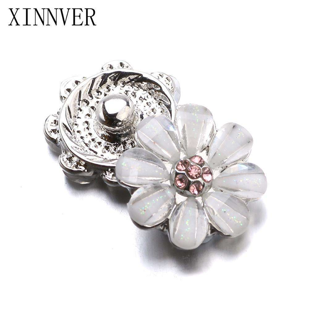 10pcs/lot Xinnver Snap Jewelry Crystal Flower Metal 12MM Snap