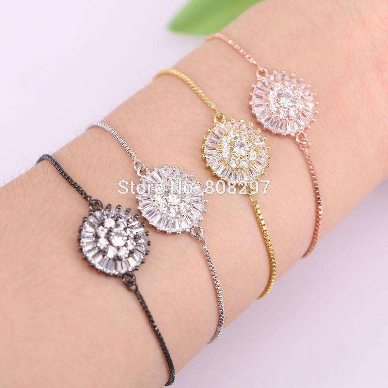 10Pcs Round CZ zircon Crystal Micro Pave Connector Fashion Design