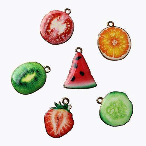10pcs Drop Oil Fruit Pendant Watermelon Kiwi Orange Cucumber Charms