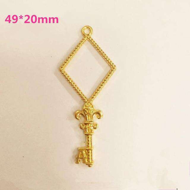 10pcs poker Key Open Bezel Gold Charm Bezel Setting Cabochon Setting